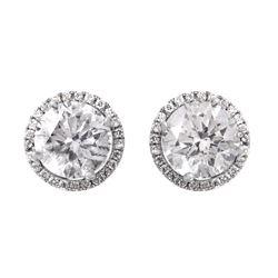 14KT White Gold Diamond Stud Earrings - #1701