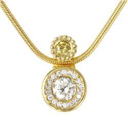 14KT Yellow gold Diamond Pendant and Chain - #1846
