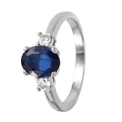 14KT White Gold Sapphire and Diamond Ring - #1113