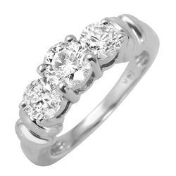 14KT White Gold Diamond Three stone Ring - #523
