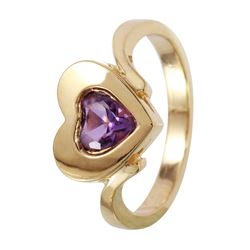 14KT Yellow Gold Amethyst Heart Ring - #1088