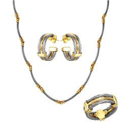 18KT Yellow Gold Philippe Charriol Diamond Necklace, Earring and Ring Suite - #1863