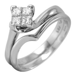 14KT White Gold Diamond Engagement Ring and Guard - #44