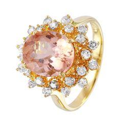 14KT White Gold Morganite and Diamond Ring - #1482