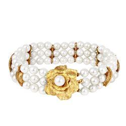 14KT Yellow Gold Antique Pearl Bracelet - #1855
