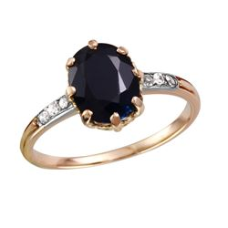 Antique 14KT Rose Gold Sapphire and Diamond Ring - #1808