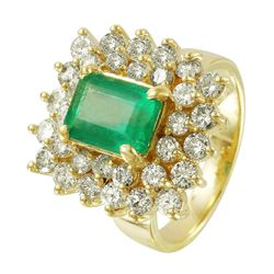 14KT Yellow Gold Emerald and Diamond Ring - #1492