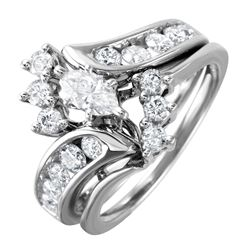 14KT White Gold Diamond Engagement Ring and Guard - #1558