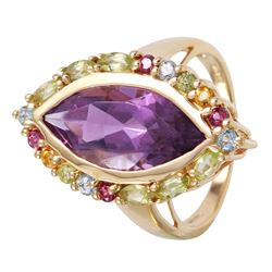 14KT Yellow Gold Multi - Color Stone Ring - #1074