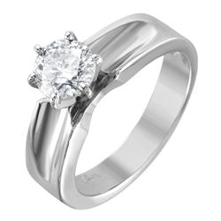 14KT White Gold Diamond Solitaire Ring - #1483