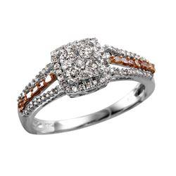 10KT White Gold White and Rose Gold Diamond Engagement Ring - #2079