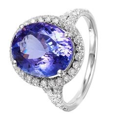 14KT White Gold Tanzanite and Diamond Ring - #1518