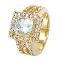 14KT Yellow Gold Aquamarine and Diamond Ring - #1506