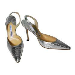 NEW Manolo Blahnik Shoes Silver Carolyne Crocodile Slingback Heels Size 39.5 - #623