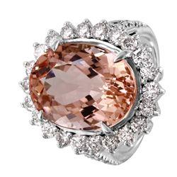 14KT White Gold Morganite and Diamond Ring - #1486