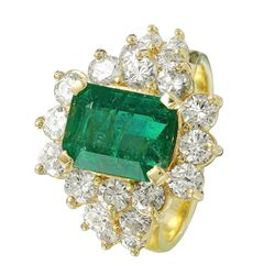 14KT Yellow Gold Emerald and Diamond Ring - #1523