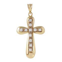 14KT Yellow Gold Diamond Cross Pendant - #136