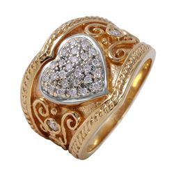 14KT Yellow Gold Diamond Heart Ring - #130