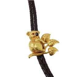 18KT Gold Koala Bear figure Braided Leather Bolo Tie - #1211