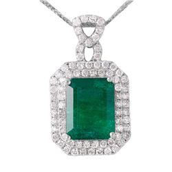 14KT White Gold Emerald and Diamond Pendant and Chain - #1533
