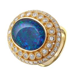 14KT Yellow Gold Opal and Diamond Ring - #127