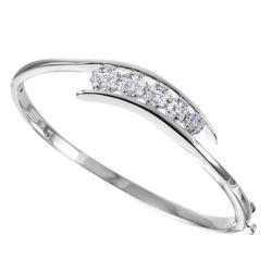 NEW 14KT White Gold Diamond Bangle Bracelet - #2011-0