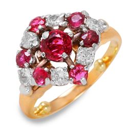 14KT Yellow Gold Vintage Style Diamond and Ruby Ring - #132