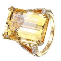 14KT Yellow Gold Citrine and Diamond Ring - #1362