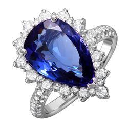 14KT White Gold Tanzanite and Diamond Ring - #1509