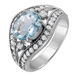 14KT White Gold Aquamarine and Diamond Ring - #1519