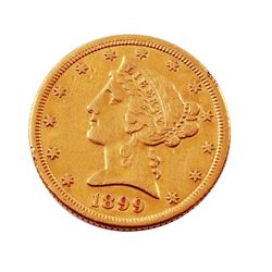 1899 - S $5 Liberty Head Half Eagle Gold Coin - #1239