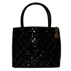 Authentic Designer Chanel Quilted Black Patent Leather Shoulder Bag with CC Gold Medallion - #481A