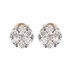 14KT Yellow Gold Diamond Stud Earrings - #713