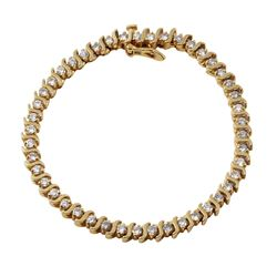 14KT Yellow Gold Diamond Tennis Bracelet - #1215