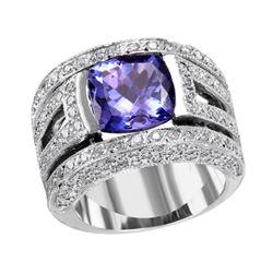 NEW 18KT White GoldTanzanite and Diamond Ring - #2006