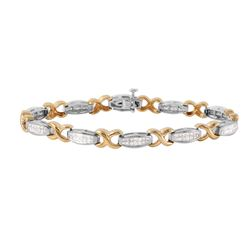 14KT White and Yellow Gold Diamond Tennis Bracelet - #1183