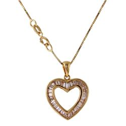 14KT Yellow Gold Diamond Heart Pendant and Chain - #5
