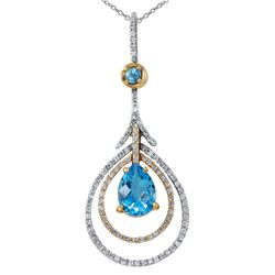 14KT White and Yellow Topaz and Diamond Pendant and Chain - #2019-6
