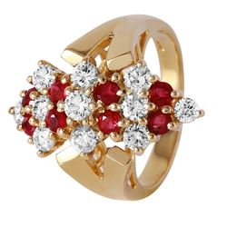 14KT Yellow Gold Ruby and Diamond Ring - #372