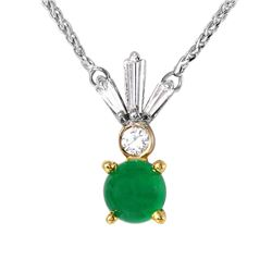 14KT White Gold Emerald and Diamond Pendant and Chain - #1849
