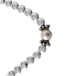 Lagos Caviar Sterling Silver and 18KT Yellow Gold Cuff Pearl Necklace - #558