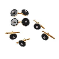 14KT Yellow gold Pearl and Onyx Stud and Cufflink Set - #997