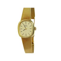Ladies Omega 18KT Yellow Gold Zippered-Brick Link Bracelet Watch - #1739