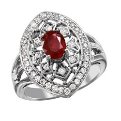 NEW 14KT White Gold Ruby and Diamond Ring - #1996