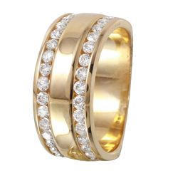Ladies 14KT Yellow Gold Double Channel Diamond Band - #1131