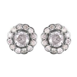 14KT White Gold Diamond Earrings - #1550