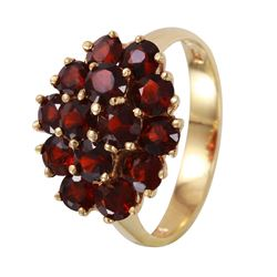 Bohemian Garnet Ladies Vintage Ring 14KT Gold. - #1122