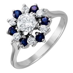 14KT White Gold Sapphire and Diamond Ring - #1544