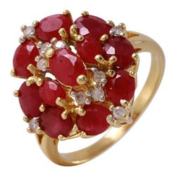 14KT Yellow Gold Ruby and Diamond Ring - #38