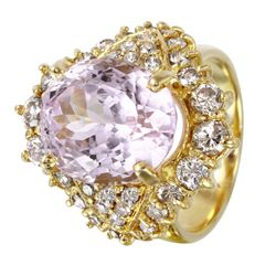 14KT White Gold Kunzite and Diamond Ring - #1541